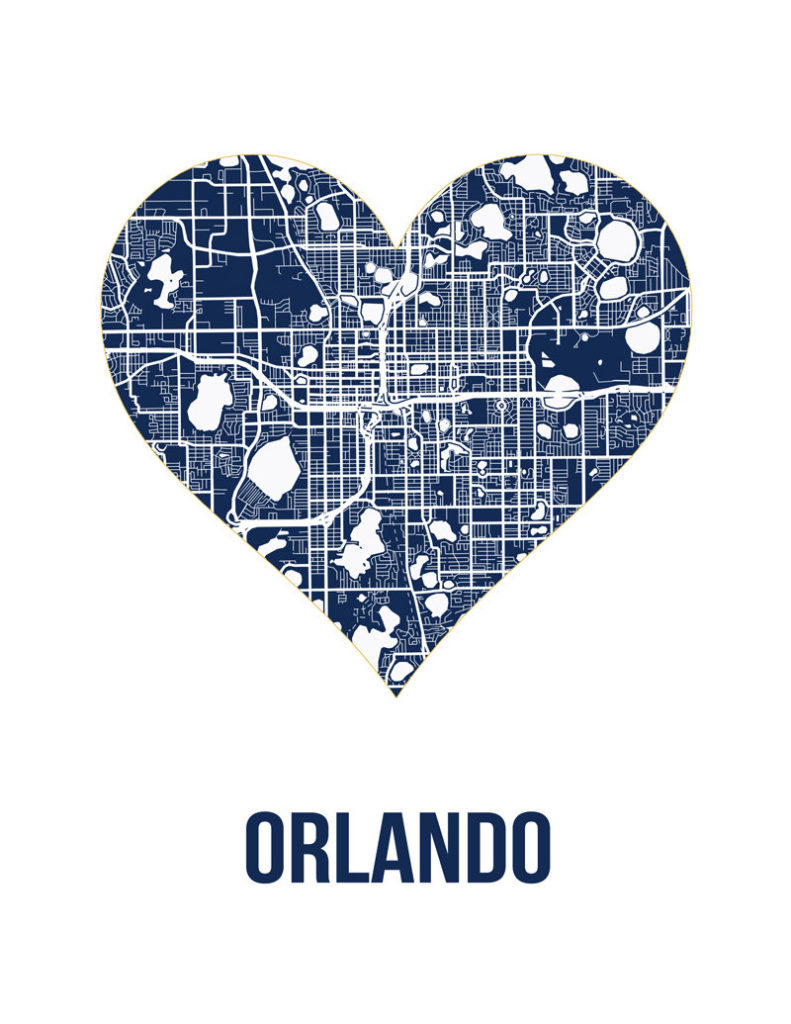 Orlando Heart Map Print from JulyJulyandJuly on Etsy